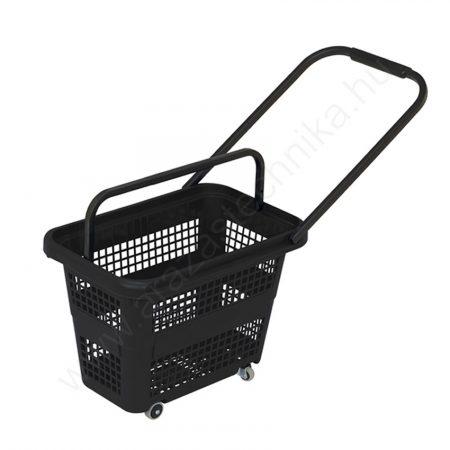 Gurulós bevásárló kosár 32 literes  - fekete