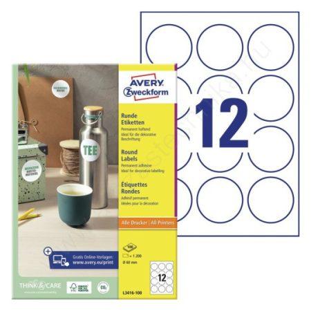 60mm kör alakú öntapadó etikett címke (Avery L3416-100)