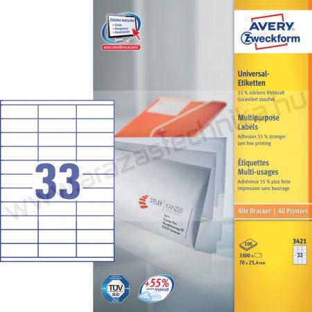 70 x 25,4mm univerzális címke (Avery 3421)