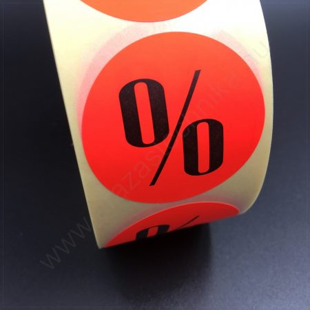 38 mm körcímke - fluo piros alapon % feliratos