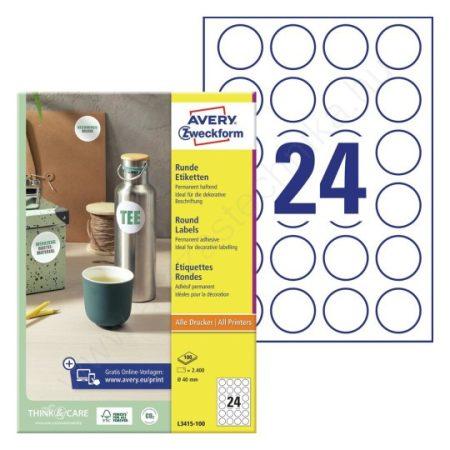 40mm kör alakú öntapadó etikett címke (Avery L3415-100)