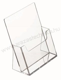 Prospektustartó A4 plexi asztali szórólaptartó