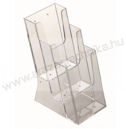 Prospektustartó A6 méret 3 rekeszes asztali szórólaptartó