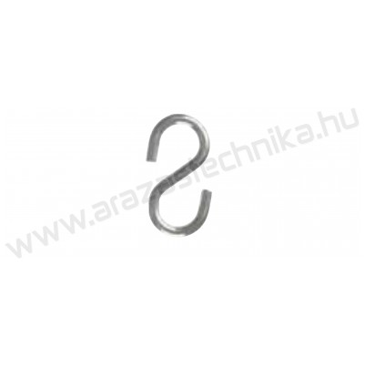 """Függesztő """"S"""" alakú kampó 6 mm huzalra (hossz: 28mm)"""