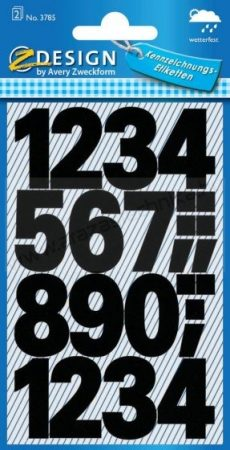 Számok öntapadós címke (Avery 3785)