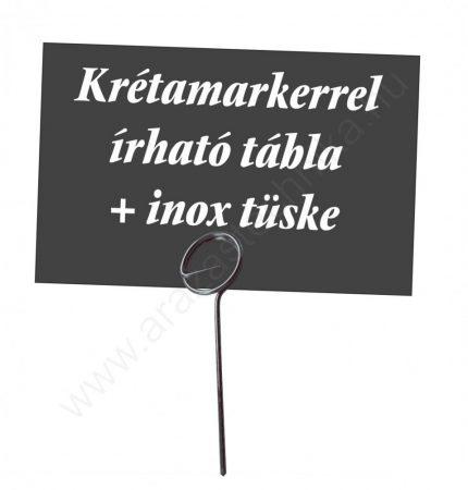 Fekete ÁRTÁBLA 74×52mm + inox TÜSKE (5 cm)