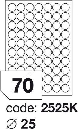 Körcímke 25mm (70db/ív) Rayfilm (100ív/#) [2525]