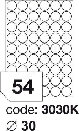 Körcímke 30mm (54db/ív) Rayfilm (100ív/#) [3030]
