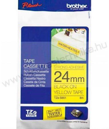 24mm Brother TZe-S651 sárga/fekete