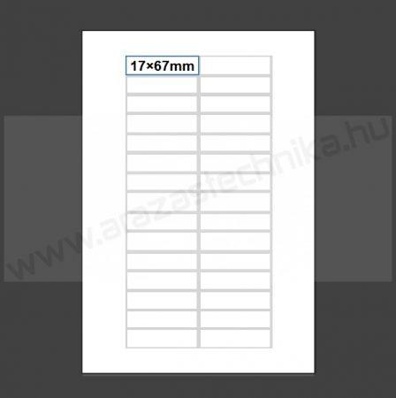 Inzert 17×67mm - nyomtatható etikett 30db/ív (nem öntapadó) polccímke