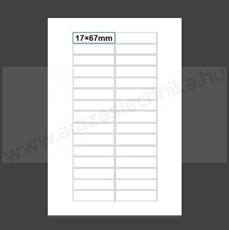 Inzert 17x67mm - nyomtatható etikett 30db/ív (nem öntapadó) polccímke