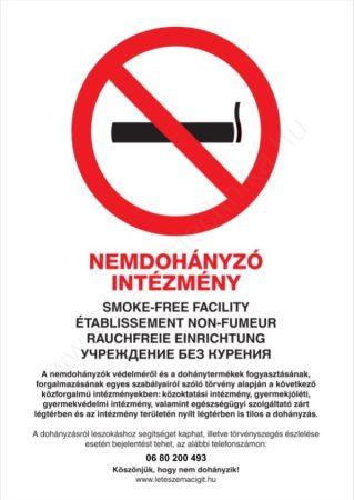 Nemdohányzó intézmény - A4 TÁBLA 3mm PVC (UV álló kültéri festék)