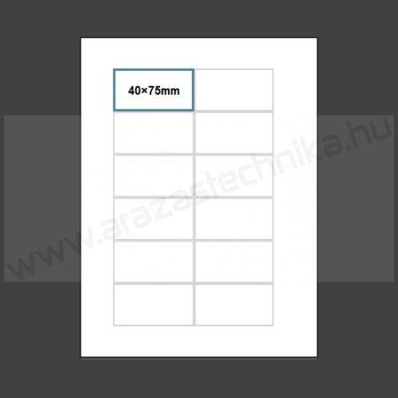 Inzert 40x75mm - nyomtatható etikett 12db/ív (nem öntapadó) polccímke (1454)