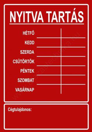 NYITVA TARTÁS matrica öntapadós (UV álló kültéri festék) - piros