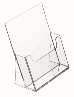 Prospektustartó A5 plexi asztali szórólaptartó