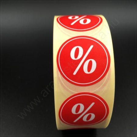 30 mm körcímke -% piros alapon kedvezmény