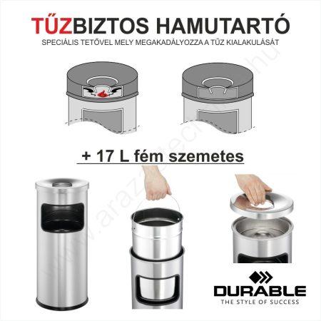 TŰZBIZTOS HAMUTARTÓ + 17 L fém szemetes (3332)