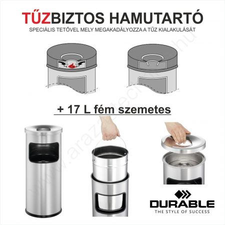 TŰZBIZTOS HAMUTARTÓ + 17 L fém szemetes (3332-58) - antracit