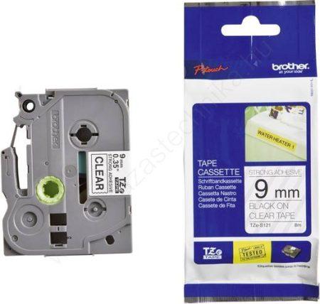 9mm Brother TZe-S121 szalag átlátszó/fekete