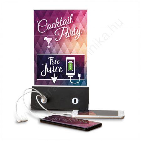 Menütartó A5 PET laptartó - Powerbank - USB telefontöltő