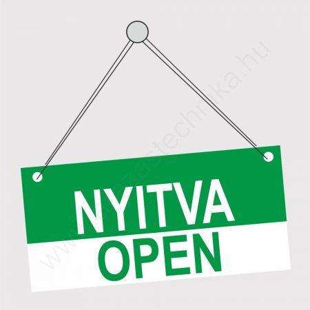 NYITVA - ZÁRVA / OPEN  - CLOSED tábla kétoldalas 210×98 mm (zöld-piros)
