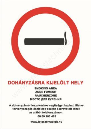 Dohányzásra kijelölt hely - A4 matrica (UV álló kültéri festék)