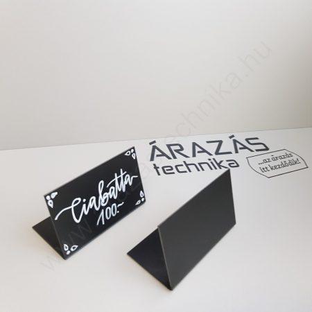 Fekete ártábla  75×50mm döntött - pultra helyezhető