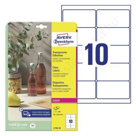 Átlátszó, víztiszta PE műanyag címke 96 x 50,8mm (Avery L7783-25)