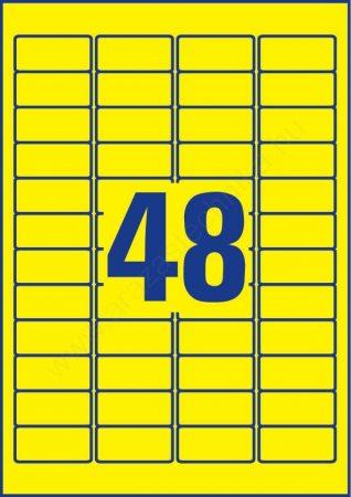 Időjárásálló poliészter címke 45,7×21,2mm (Avery L6103-20) sárga