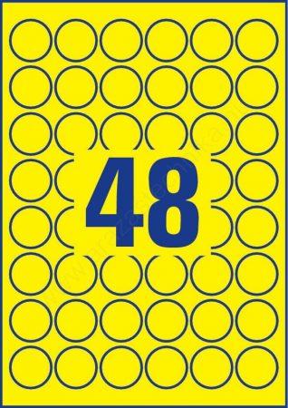 Időjárásálló poliészter címke 30mm (Avery L6128-20) sárga