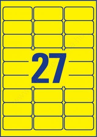 Időjárásálló poliészter címke 63,5×29,6mm (Avery L6105-20) sárga