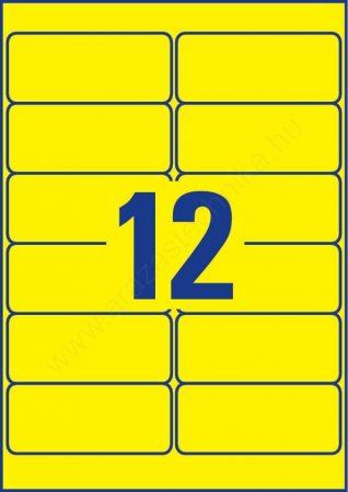 Időjárásálló poliészter címke 99,1×42,3mm (Avery L6107-20) sárga