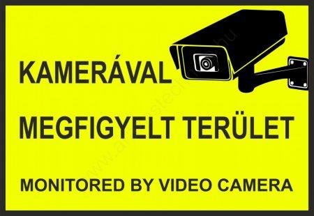 Kamerával megfigyelt terület - A4 matrica (UV álló) - sárga