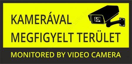 Kamerával megfigyelt terület - 21×10cm matrica (UV álló) - sárga