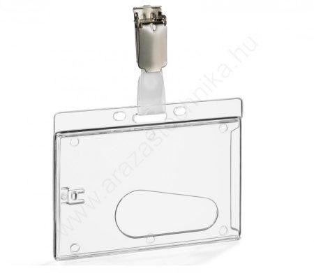 Belépőkártya tartó - kemény tok + fém csipesz  (8249-19)