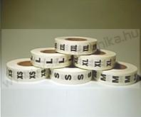 Méretjelző körcímke 30 mm fehér XS, S, M, L XL, XXL