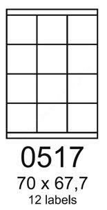 70×67,7 mm 12 db/ív Rayfilm íves etikett címke [0517A]
