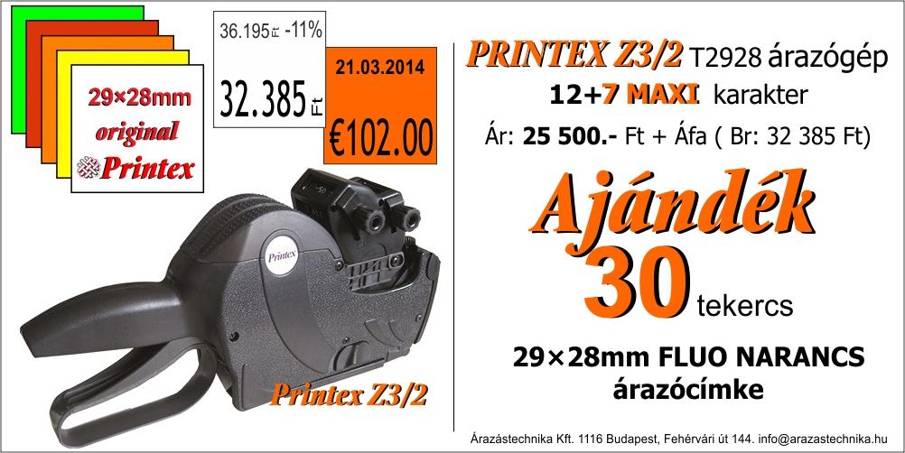 Printex Z3 12+7MAXI árazógép