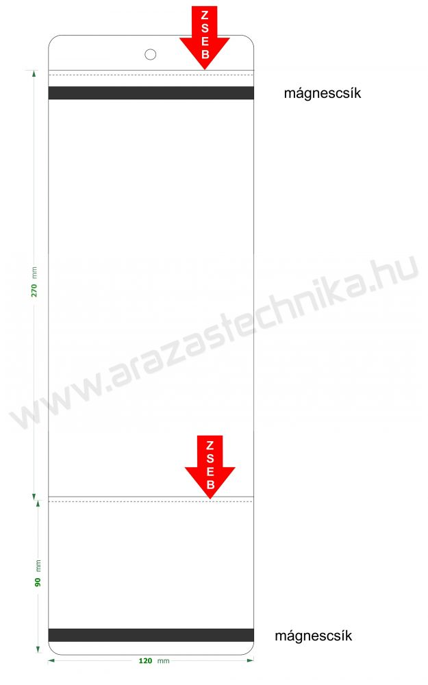 Mágnescsíkos PVC tasak 120mm széles ×90+270 hosszú 2 zsebes árjelzésre 05b9ff8f61