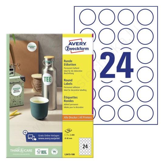 a62f007a8e 40mm kör alakú öntapadó etikett címke (Avery L3415-100) - ÁRAZÓGÉP ...